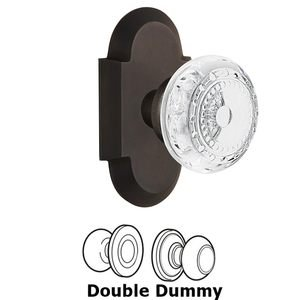 Nostalgic Warehouse - Double Dummy - Cottage Plate With Crystal Meadows Knob in Oil-Rubbed Bronze