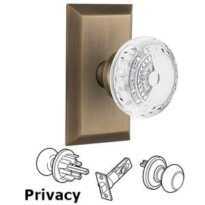 Nostalgic Warehouse - Privacy - Studio Plate With Crystal Meadows Knob in Antique Brass