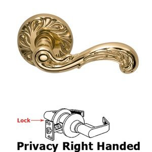 Door Levers by Omnia Door Hardware - Privacy Carved Wave Right Handed Lever with Carved Rosette in Polished and Lacquered Brass