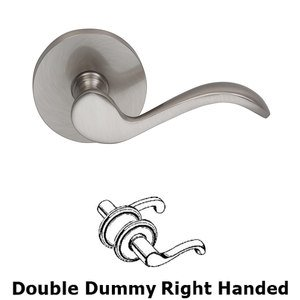 Omnia - Prodigy Door Hardware - Right Handed Double Dummy Wave Lever with Modern Rose in Satin Nickel