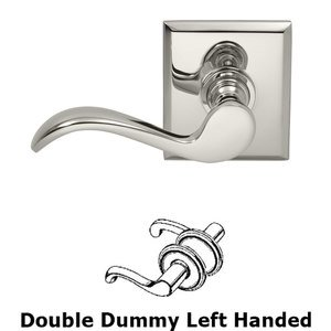 Prodigy by Omnia - Left Handed Double Dummy Wave Lever with Rectangle Rose in Polished Nickel