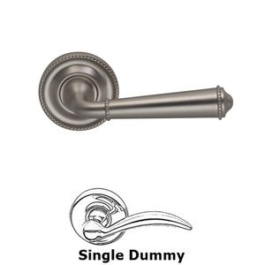 Door Levers by Omnia - Single Dummy Traditions Beaded Lever with Medium Beaded Rosette in Satin Nickel