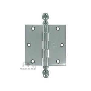 "Omnia Door Hinges - 3 1/2"" x 3 1/2"" Plain Bearing, Solid Brass Hinge with Acorn Finials in Polished Chrome"