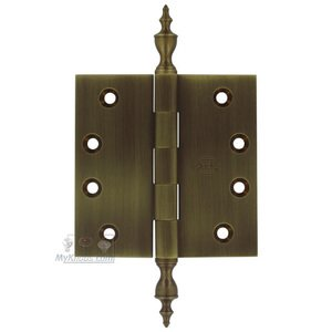 "Omnia Door Hinges - 4"" x 4"" Plain Bearing, Solid Brass Hinge with Urn Finials in Shaded Bronze, Lacquered"