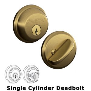 Schlage   B60 Series   Single Deadbolt In Antique Brass
