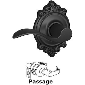 Schlage - F10 Series - Passage Accent Door Lever with Brookshire Rose in Matte Black