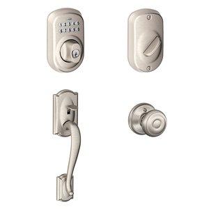 schlage door handle. Schlage - Camelot Exterior With Georgian Knob Interior BE365 Plymouth Keypad Electronic Deadbolt In Satin Door Handle