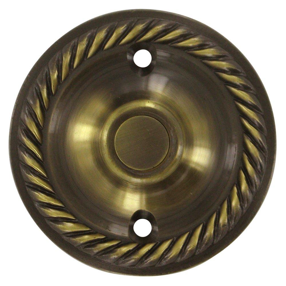 Deltana - Solid Brass Round Rope Bell Button in Antique Brass ... - DoorKnobsOnline.com Offers: Deltana DEL-86066 Door Bell Antique