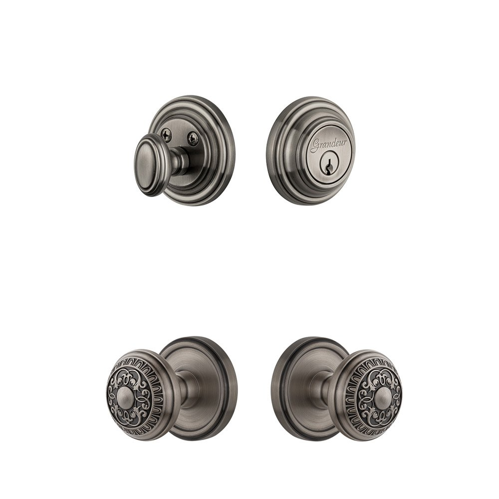 Grandeur Door   Handleset   Georgetown Rosette With Windsor Knob U0026 Matching  Deadbolt In Antique Pewter ...