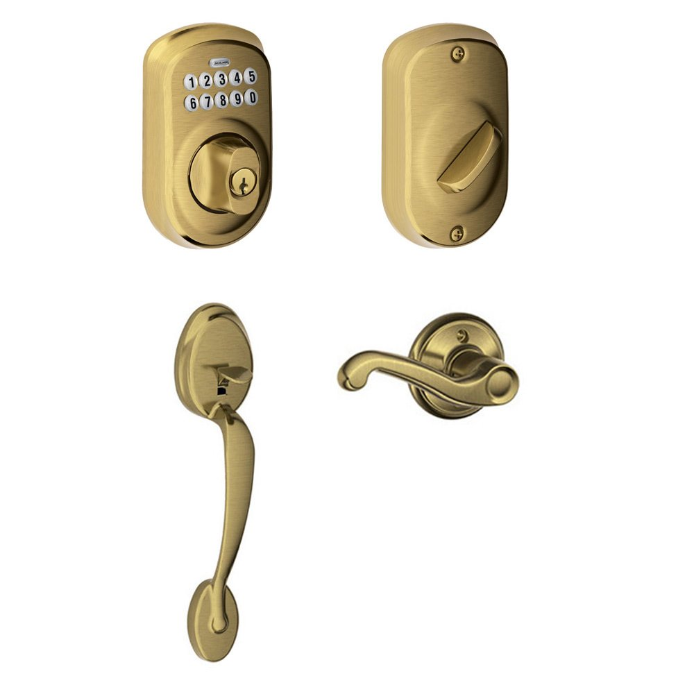 Doorknobsonline offers schlage shl 275755 antique brass schlage schlage left handed plymouth exterior with flair lever interior with be365 plymouth keypad electronic deadbolt planetlyrics Image collections