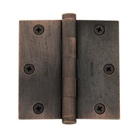 "Baldwin Hardware - Distressed Oil Rubbed Bronze - 3 1/2"" x 3 1/2"" Square Corner Door Hinge in Distressed Oil Rubbed Bronze"