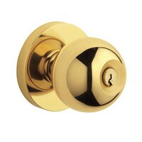 Baldwin Hardware - Contemporary - Keyed Entry Door Knob with Rose in Lifetime PVD Polished Brass