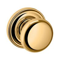 Baldwin Hardware - Classic - Single Dummy Door Knob with Rose in Lifetime PVD Polished Brass