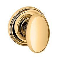 Baldwin Hardware - Egg - Single Dummy Door Knob with Classic Rose in Lifetime PVD Polished Brass