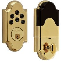 Baldwin Hardware - Keyless Entry Electronic Deadbolts - Single Cylinder Keyless Entry Electronic Deadbolt in Lifetime PVD Polished Brass