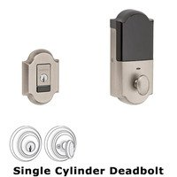 Baldwin Hardware - Arched - Evolved Single Cylinder Bluetooth Deadbolt in Lifetime Pvd Polished Brass