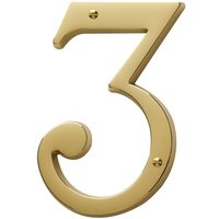 Baldwin Hardware - Lifetime PVD Polished Brass - #3 House Number in Lifetime PVD Polished Brass