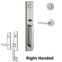 Baldwin Hardware - Reserve Santa Cruz - Right Handed Double Cylinder Santa Cruz Handleset with Square Door Lever with Contemporary Round Rose in Satin Nickel