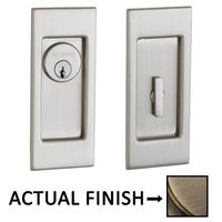 Baldwin Hardware - Pocket Door Hardware - Small Santa Monica Keyed Mortise Pocket Door Set in Lifetime Brass