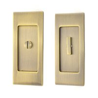 Baldwin Hardware - Pocket Door Hardware - Small Santa Monica Privacy Mortise Pocket Door Set in Lifetime Brass