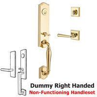 Baldwin Hardware - Reserve New Hampshire - Handleset with Right Handed Federal Lever and Traditional Square Rose in Polished Brass