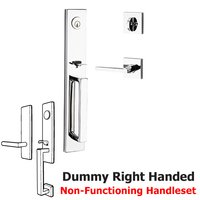 Baldwin Hardware - Reserve Santa Cruz - Right Handed Full Dummy Santa Cruz Handleset with Square Door Lever with Contemporary Square Rose in Polished Chrome