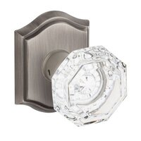 Baldwin Hardware - Reserve Crystal - Single Dummy Crystal Door Knob with Traditional Arch Rose in Matte Antique Nickel