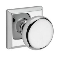 Baldwin Hardware - Reserve Round - Single Dummy Door Knob with Traditional Square Rose in Polished Chrome