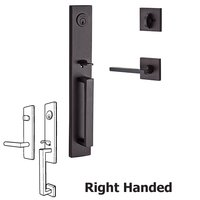 Baldwin Hardware - Reserve Santa Cruz - Right Handed Single Cylinder Santa Cruz Handleset with Square Door Lever with Contemporary Square Rose in Venetian Bronze