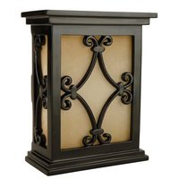 Craftmade - Tieber by - Door Bells and Chimes - Hand Carved Scroll Design Cabinet with Tea Stained Glass Door Chime in Matte Black