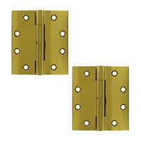 Deltana Hardware - Solid Brass Lifetime Finish Hinges & Finials - Removable Pin Square Lifetime Finish Door Hinge (Sold as a Pair) in PVD Brass