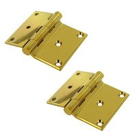 "Deltana Hardware - Solid Brass Half Surface Hinges - Solid Brass 3"" x 3 1/2"" Half Surface Door Hinge (Sold as a Pair) in PVD Brass"