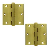 "Deltana Hardware - Solid Brass Door Hinges - Solid Brass 3 1/2"" x 3 1/2"" Residential Square Door Hinge (Sold as a Pair) in Polished Brass"