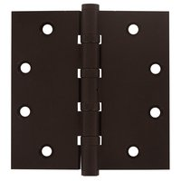 Deltana Hardware - Solid Brass Distressed Finish Door Hinges - Removable Pin Square Door Hinge (Sold as a Pair) in Bronze Dark