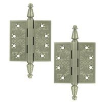 "Deltana Hardware - Solid Brass Ornate Door Hinges - Solid Brass 3 1/2"" x 3 1/2"" Square Door Hinge (Sold as a Pair) in Oil Rubbed Bronze"