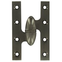 "Deltana Hardware - Solid Brass Olive Knuckle Hinges - Solid Brass 5"" x 3 1/4"" Left Handed Olive Knuckle Door Hinge (Sold Individually) in Antique Nickel"
