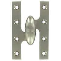 "Deltana Hardware - Solid Brass Olive Knuckle Hinges - Solid Brass 5"" x 3 1/4"" Left Handed Olive Knuckle Door Hinge (Sold Individually) in Brushed Nickel"