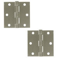 "Deltana Hardware - Steel Hinges - 3"" x 3"" Residential Square Door Hinge (Sold as a Pair) in Brushed Nickel"
