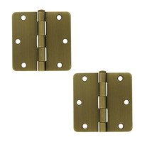 "Deltana Hardware - Steel Hinges - 3 1/2"" x 3 1/2"" 1/4"" Radius/Residential Door Hinge (Sold as a Pair) in Oil Rubbed Bronze"