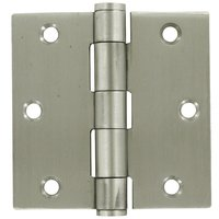 "Deltana Hardware - Stainless Steel Hinges - Stainless Steel 3 1/2"" x 3 1/2"" Standard Square Door Hinge (Sold as a Pair) in Brushed Stainless Steel"