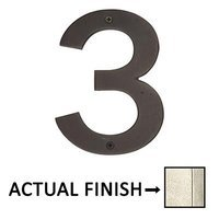 "Emtek Hardware - House Numbers - #3 Bronze 4"" House Number in Tumbled White Bronze"