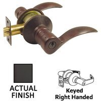 Emtek Hardware - Keyed Knobs and Levers Hardware - Keyed Right Handed Durango Lever With #2 Rosette in Flat Black Bronze