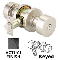 Emtek Hardware - Keyed Knobs and Levers Hardware - Keyed Round Knob With Disk Rose in Oil Rubbed Bronze