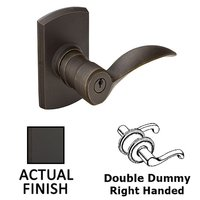 Emtek Hardware - Keyed Knobs and Levers Hardware - Double Dummy Right Handed Durango Lever With #4 Rosette in Flat Black Bronze