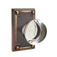 Emtek Hardware - Crystal Door Hardware - Providence Double Dummy Door Knob with Arts & Crafts Rectangular Rose in Flat Black