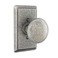 Emtek Hardware - Wrought Steel Door Hardware - Single Dummy Jamestown Knob With #3 Rosette in Flat Black Steel