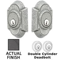 Emtek Hardware - Wrought Steel - Wrought Steel #1 Double Cylinder Deadbolt in Flat Black Steel