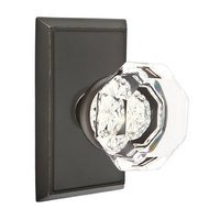 Emtek Hardware - Crystal Door Hardware - Single Dummy Old Town Door Knob with Rectangular Rose in Oil Rubbed Bronze