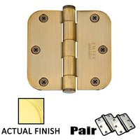 "Emtek Hardware - Door Accessories - 3-1/2"" X 3-1/2"" 5/8"" Radius Solid Brass Residential Duty Hinge in Lifetime Brass"