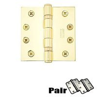 "Emtek Hardware - Door Accessories - 4"" X 4"" Square Solid Brass Heavy Duty Ball Bearing Hinge in Lifetime Brass"